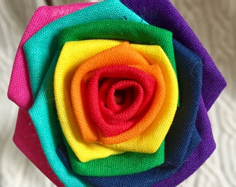 Rainbow Fabric Roses with Stems, Wedding Bouquet, Rainbow Roses, Unique Roses, Gift for Her, Rose Bouquet, Rainbow Rose, Fabric Flowers