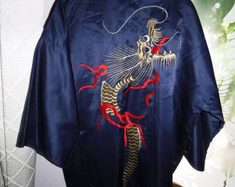 Dragon Kimono Best Quality Dark blue with gold and red dragon desing