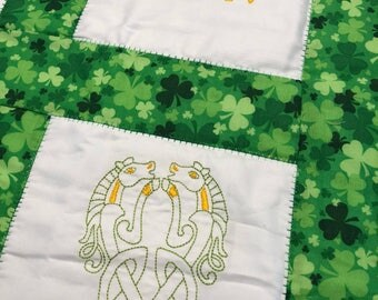 NEW Baby or Lap quilt with CELTIC Horses  embroidered on it