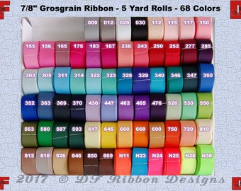 7/8 inch Solid Grosgrain Ribbon - NEW COLORS ADDED - 5 yards - 68 colors to choose from - wholesale prices