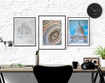 Signed Watercolor Prints, You pick 3, Architecture set, 8.5x11inches, Watercolor painting, Urban Sketch, Architecture, Wall Art