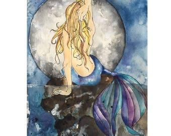 The Mermaid & the Moon, Illustration, Watercolor, Mixed Media Giclee Art Print