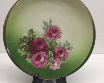 Three Crowns China Plate red full blooming roses green back ground hand painted 7 inch