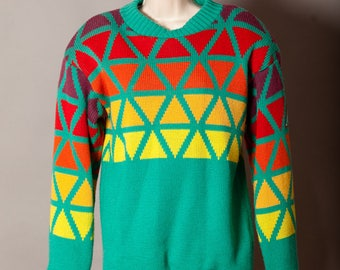 Vintage 80s Heavy Colorful Geometric Knit Sweater lined - SOS - shoulder pads