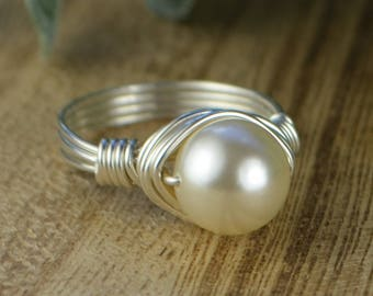 Cream Crystal Pearl Wrapped Ring-Sterling Silver, Yellow or Rose Gold Filled Wire with Swarovski Pearl-Any Size 4 5 6 7 8 9 10 11 12 13 14