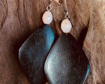 Rhodochrosite And Coconut Wood Earrings