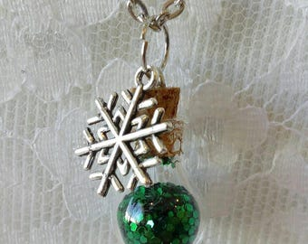 Christmas Bottle/Vial Necklace with Snowflake Charm