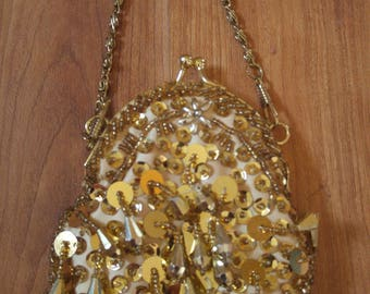 80s Jessica McClintock gold sequin and bead evening coin purse with gold chain
