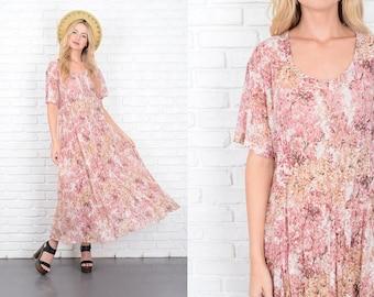 Vintage 90s Pink + White Lace Dress Grunge Sheer Oversize S M 10099