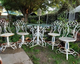 Beautiful Vintage 7 Piece Chippy Rusty White Wrought Iron Scroll Patio Table  With 4 Chairs And