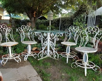Garden Furniture Vintage vintage wrought iron patio furniture | etsy