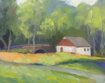 By the Bridge Small Plein Air Landscape Oil Painting on Canvas