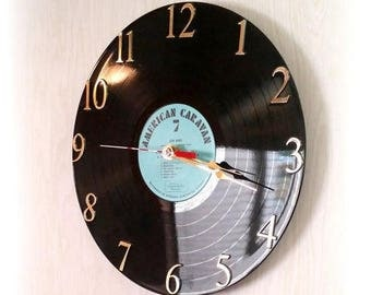 1960s COOL 78 Vinyl RECORD Clock - American Caravan - Latin Moods - Battery Operated