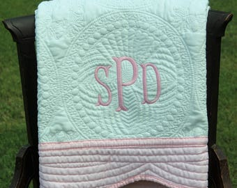 White And Pink Baby Quilt, Monogrammed Baby Quilt, Monogrammed Quilt, Personalized Quilt, Baby Shower Gift, Christening Gift, New Baby Gift
