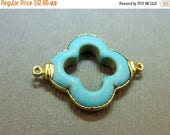 15% off Christmas in July Turquoise Clover Station Pendant Charm 24k gold electroformed double bail (S1B19-02)