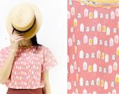 Handmade Organic Cotton Houses Print Shirt Blouse [Julia's shirt/les maisons grises]