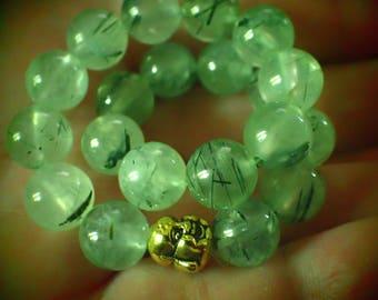 Green Moss Agate Beaded Bracelet . mens  large 8.5
