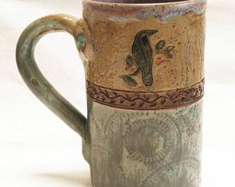 Ceramic raven mug 16oz. stoneware 16D074