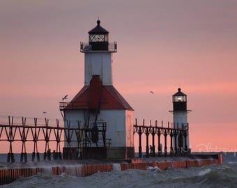 Lighthouse, St. Joseph, Michigan, Beach, Nautical, Sunset, Travel, Water, Home Decor, Original Fine Art Photograph, Print