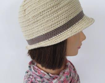 Crochet Cloche Hat Trouville Flapper Cloche Linen Cotton Downton Abbey Vintage Style
