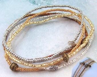 SALE 5 Matte Gold Stacking Bracelets, silver beaded bracelet, silver stacking bracelet, stretch bracelet, metallic, stretchy, stack