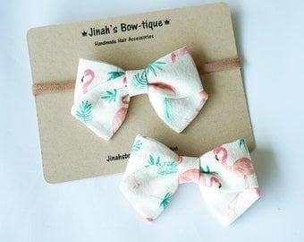 Flamingo Linen Hand Folded Bow Clip or Headband Nylon Skinny Headband