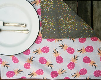 Pink Pineapple Reversible Cloth Napkin Set, Grey with Scattered Dots, Light Grey Eco Friendly Cotton Sustainable