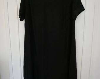 Black Rayon Handmade T Shirt Maxi Dress
