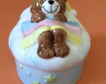 Vintage Norcrest Japan Teddy Beddy Bear Clone Ceramic Box