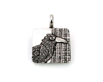 Sterling Silver, Raven, Corvidae, Crow, Raven Pendant, Raven Necklace, Raven Jewelry, Raven Totem, Crow Jewelry, Silver Raven, 979m