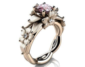 Nature Inspired 14K Rose Gold 1.0 Ct Light Pink Sapphire Floral Engagement Ring R460-14KWGSLPS