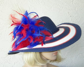 RED WHITE and BLUE Hat - Kentucky Derby Hat - Garden Party Hat