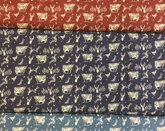 Freedom Fabric Highland FF185 by the half metre in Navy, Blue and Red Wine
