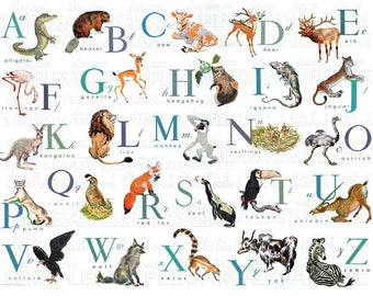 Horizontal or Vertical - BLUE and Green HUES -English or French Animal Alphabet - 18x24 up to 40x30 - Off White Background-Adorable Alphabet