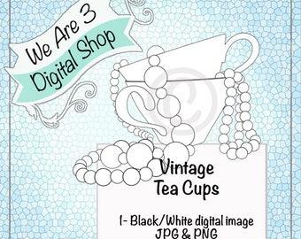 We Are 3 Digital Shop, Digital Image, Vintage Tea Cups
