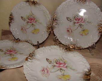 """Dresden 6"""" Plates From Germany, Set of 4, With Antique Hanging Wires"""