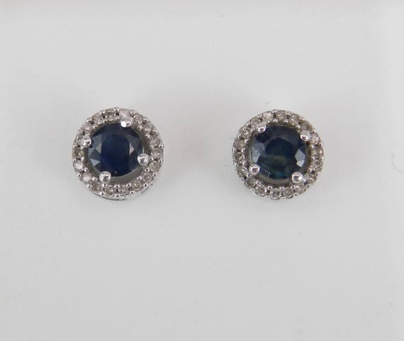Sapphire and Diamond Stud Earrings Halo Studs Birthstone Earring White Gold