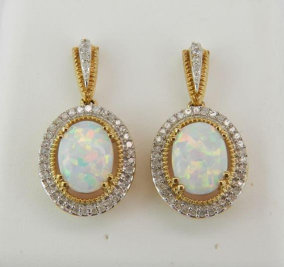 Opal and Diamond Halo Drop Earrings Yellow Gold Dangle October Gemstone