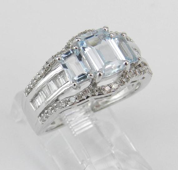 Three Stone Diamond and Aquamarine Engagement Ring Aqua Anniversary Band White Gold Size 6