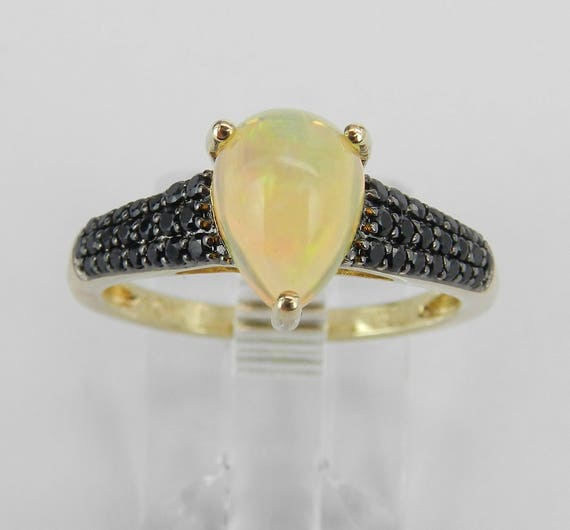 Yellow Gold Black Spinel and Opal Engagement Ring Unique Promise Size 7