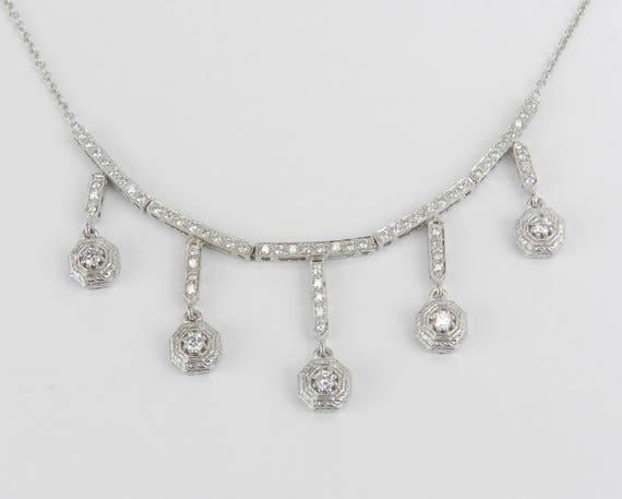 "Diamond Cluster Drop Necklace Pendant 18K White Gold Chain 17"" Wedding Gift"