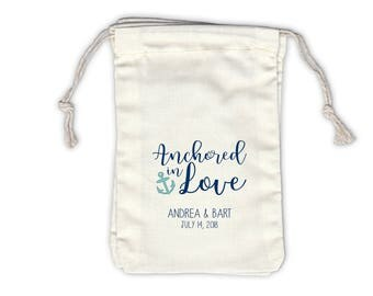 Anchored in Love Nautical Cotton Bags for Wedding Favors in Navy and Light Teal - Ivory Fabric Drawstring Bags - Set of 12 (1049)