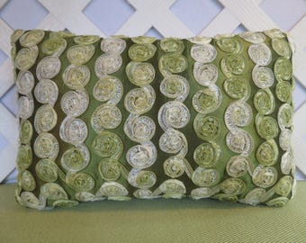Green Ribbon Rosette Pillow / Olive and New Leaf Green Pillow / Silky Ribbon Pillow / Accent Pillow / Bedroom Decor / 12 x 18 Pillow