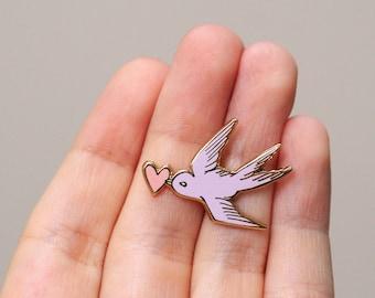 Valentine Enamel Pin, Love Bird Enamel Pin, Valentines Enamel Pin, Valentine Gift, Heart Cloisonne Pin, Cute Hard Enamel Pin,