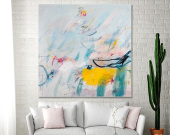 Colorful Modern Abstract Painting Large Abstract painting 36x36 Teal painting with yellow pink Canvas Art Venice by Duealberi