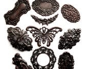 Assorted Samples, 10 Pieces,  Brass Stampings, Statement Pieces, Butterfly, Nymph, Rusted Iron, Jewelry Making, B'sue Boutiques, Item03479