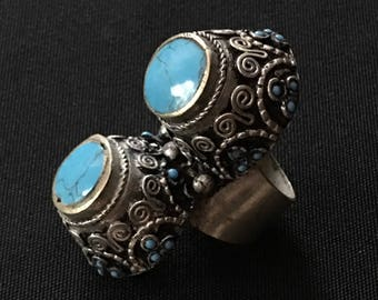 Kuchi Tribal Afghani RING Turquoise Color Theater Belly Dance Costume Jewelry Uber Kuchi®