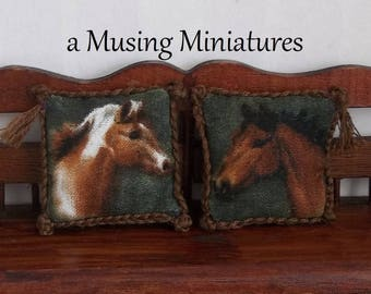 Decorative Throw Pillows with Horse Motif and Braided Edge in 1:12 Scale for Dollhouse Miniature Roombox