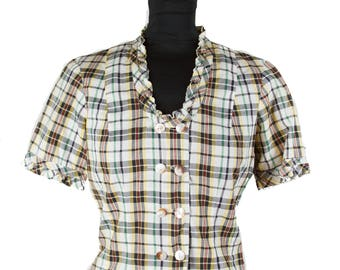 1930s Blouse // Plaid Double Breasted Vestee  Cotton Ruffle Top