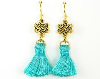 Turquoise Tassel Earrings, Gold Endless Knot Earrings, Turquoise Gold Dangle Earrings |EC1-48